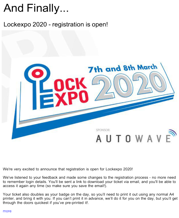 Advert: https://www.locksandsecuritynews.com/pages/18101/lockexpo_2020_registration_is_open/